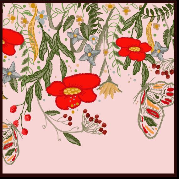 赤い花と蝶