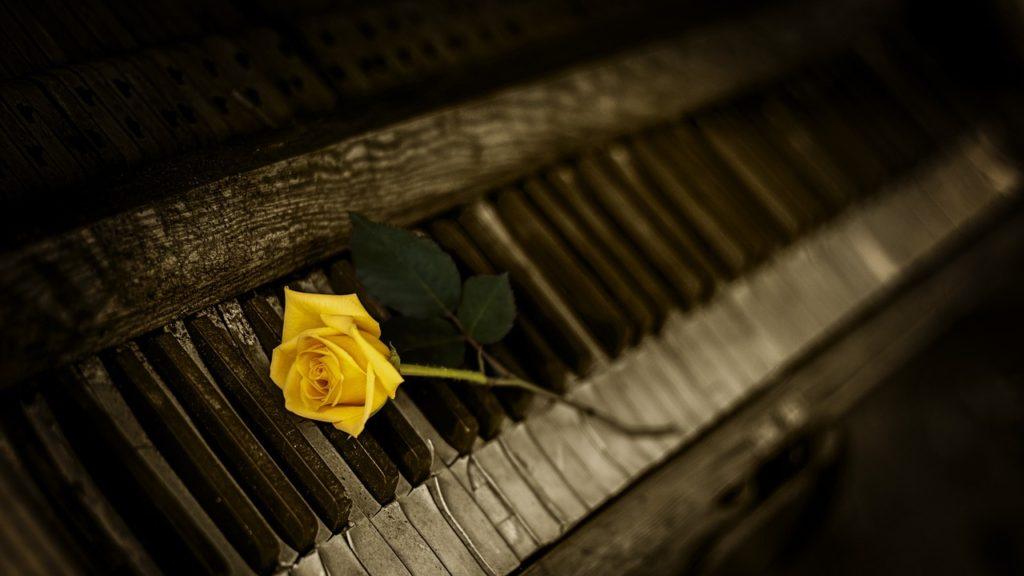 ピアノと黄色いバラ